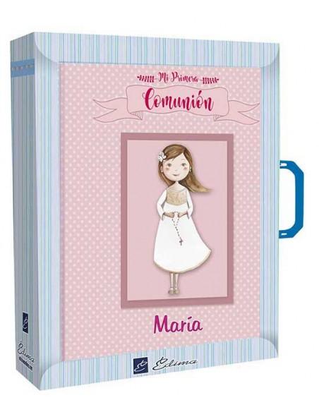 Presentación libro de firmas niña con rosario personalizado