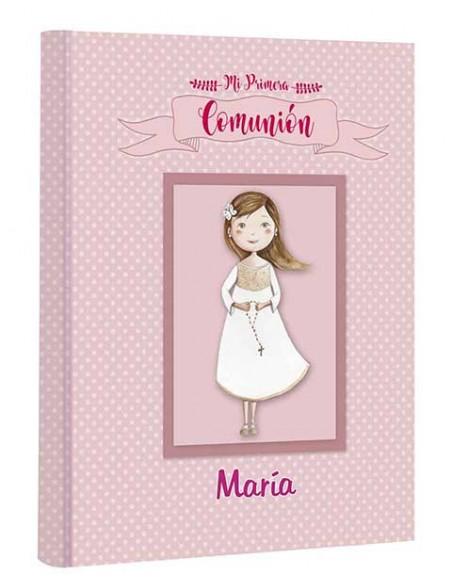 Portada del libro comunión niña con rosario personalizado con el nombre de la niña