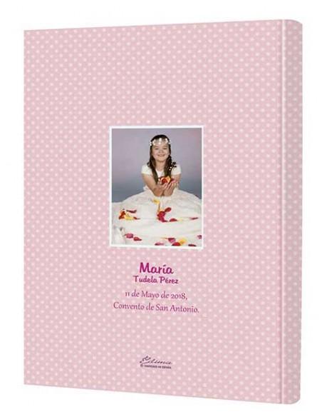 Cortaraportada del libro de firmas personalizado con la foto, nombre, fecha y lugar de la comunión