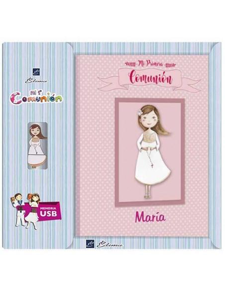 Presentación libro de firmas Comunión personalizado con usb niña rosario