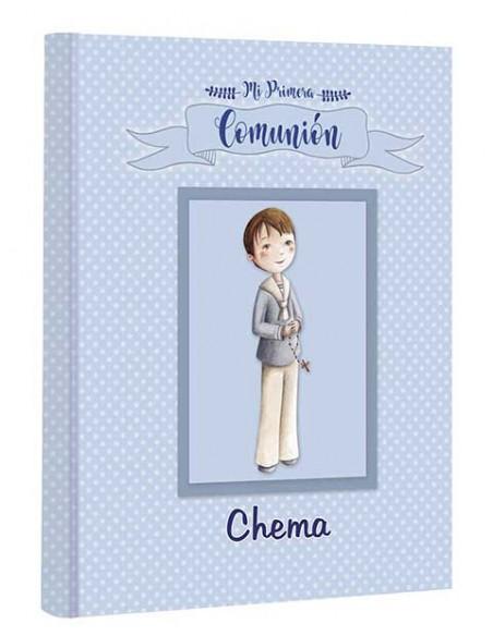Portada del libro de firmas para comunión personalizado con el nombre del niño