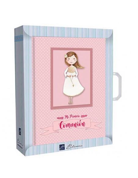 Presentación libro de firmas Comunión con maletín niña rosario