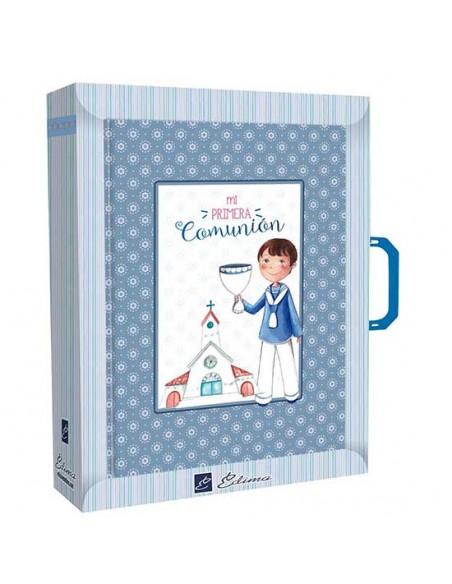 Presentación libro de firmas Comunión con maletín niño con Cáliz