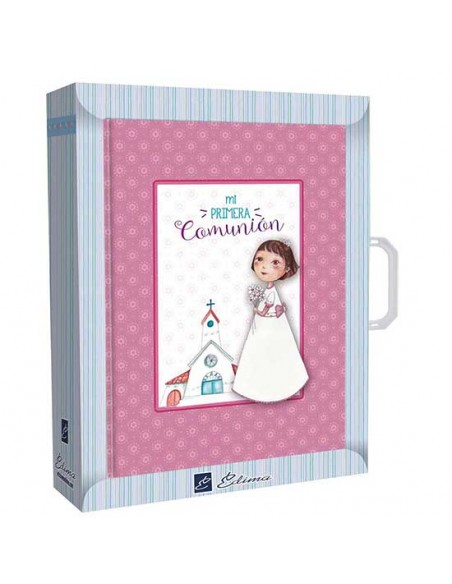 Presentación libro de firmas Comunión con maletín niña con flores