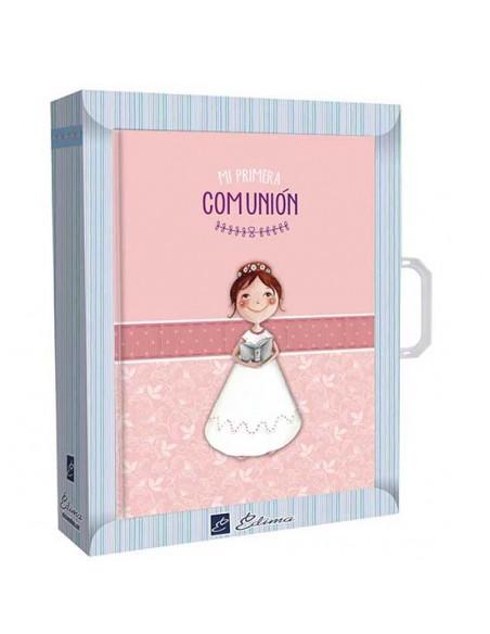 Libro de firmas con maletín Comunión niña con Biblia