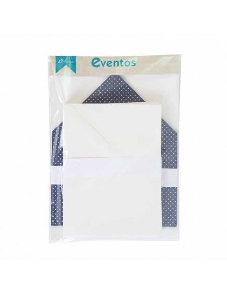Pack sobres blancos más forros interior rayas marino blanco para invitaciones de boda