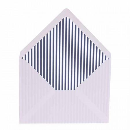 Sobre blanco más forro interior rayas marino blanco para invitaciones de boda