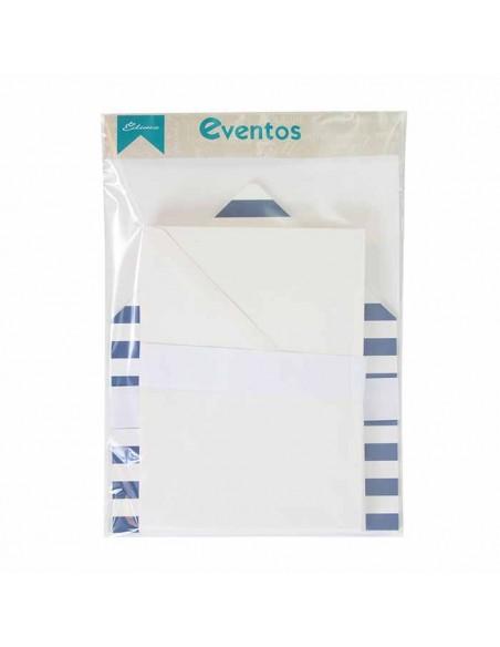 Pack sobres blancos más forros interior rayas anchas horizontales marino blanco para invitaciones de boda