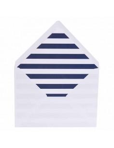 Sobres blancos más forros interior rayas anchas horizontales marino blanco para invitaciones de boda