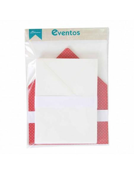 Pack sobres blancos con forro interior burdeos topos lunares plateados, para invitaciones boda.