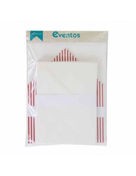 Pack sobres blancos más forro interior rayas estrechas burdeos blanco para invitaciones de boda