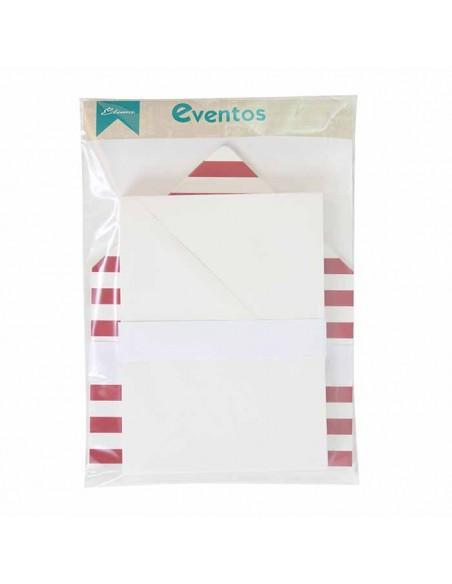 Pack sobres blancos más forros interior rayas anchas horizontales burdeos blanco para invitaciones de boda