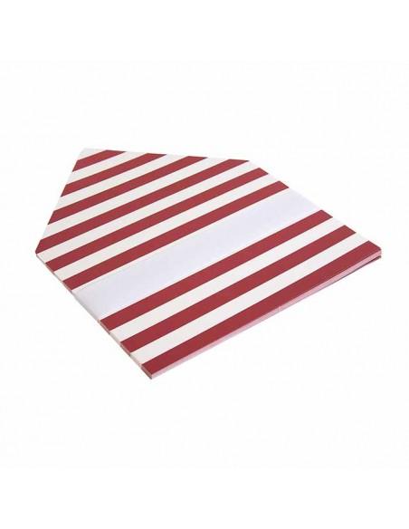 Forros interior sobres rayas anchas horizontales burdeos blanco para invitaciones de boda