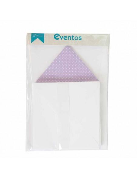 Pack sobres blancos con forro interior lila lunares blancos, para invitaciones boda.
