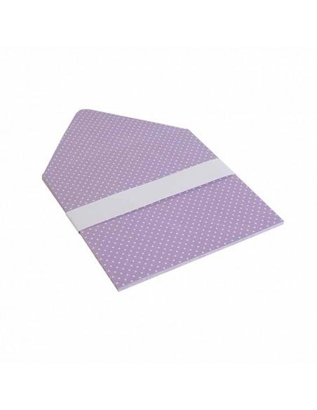 Forro interior sobres lila con lunares en blanco, para invitaciones de boda