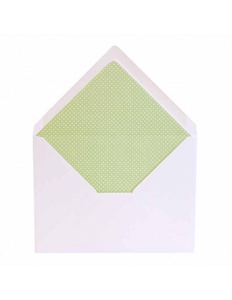 Sobre blanco con forro interior verde con topos, para invitaciones boda.