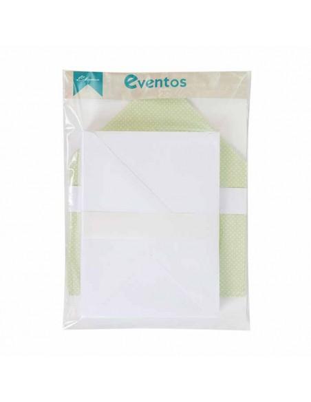 Pack sobres blancos con forro interior verde con lunares blancos, para invitaciones boda.