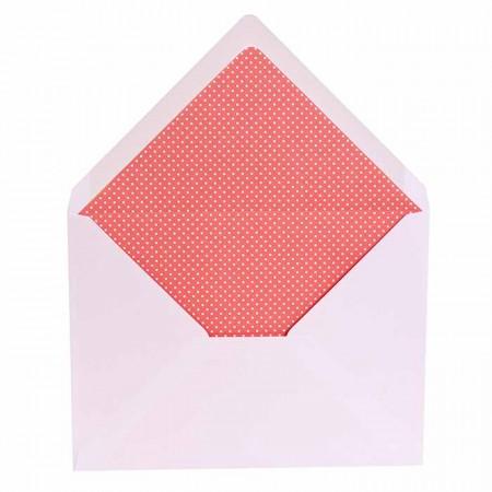 Sobre blanco con forro interior rojo con topos, para invitaciones boda.