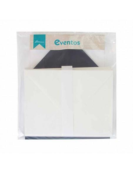 Pack sobres crema con forro interior marino liso, para invitaciones boda.