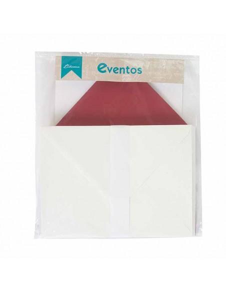 Pack sobres crema con forro interior burdeos liso, para invitaciones boda.