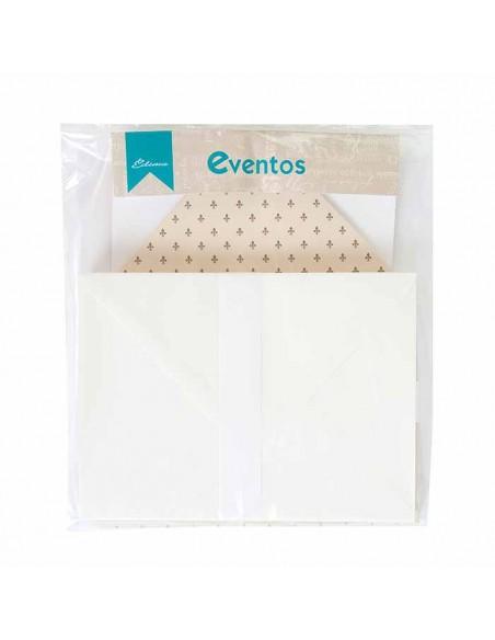Pack sobres crema con forro interior crema con motivos marrones, para invitaciones boda.