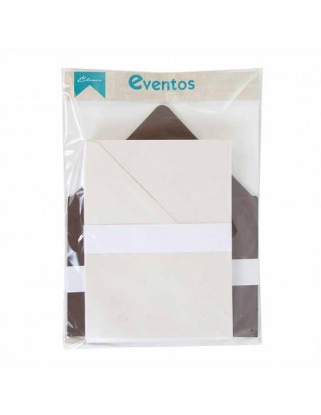 Pack sobres blancos brillo con forro interior cobre brillo, para invitaciones boda.