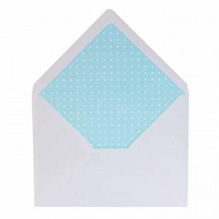 Sobres blancos más forros interior azul topos blancos, para invitaciones de boda