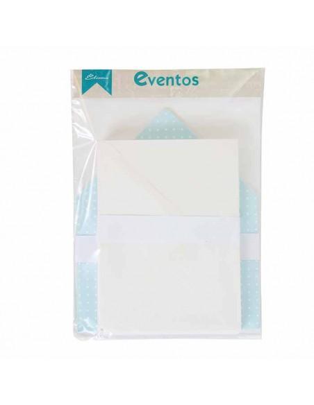 Pack sobres blancos más forros interior azul topos blanco para invitaciones de boda