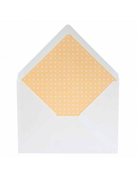Sobres blancos más forros interior naranja topos blancos, para invitaciones de boda