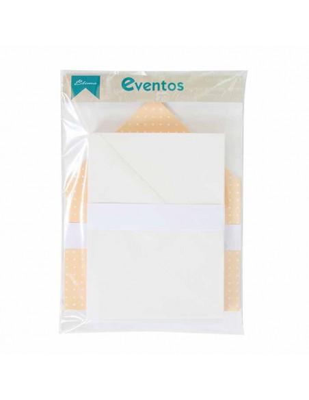 Pack sobres blancos más forros interior naranja topos blanco para invitaciones de boda