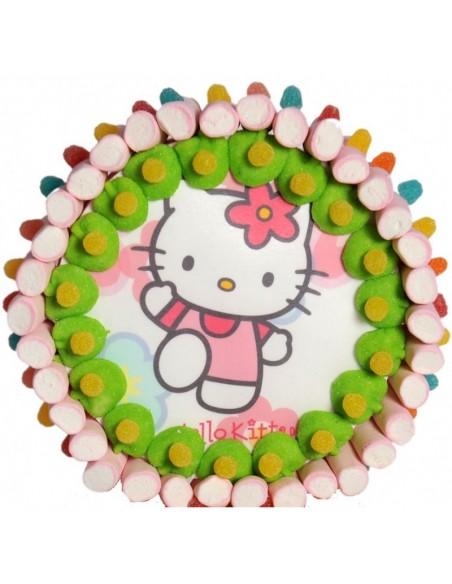 Tarta chuches oblea de 1200 gr. diseño Hello Kitty