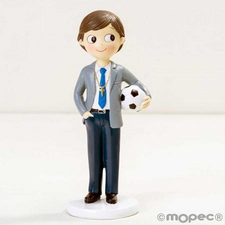 Figura para tarta de comunión, niño con traje y balón de fútbol