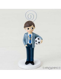 Clip-Portafotos niño con traje de Comunión y con balón de fútbol