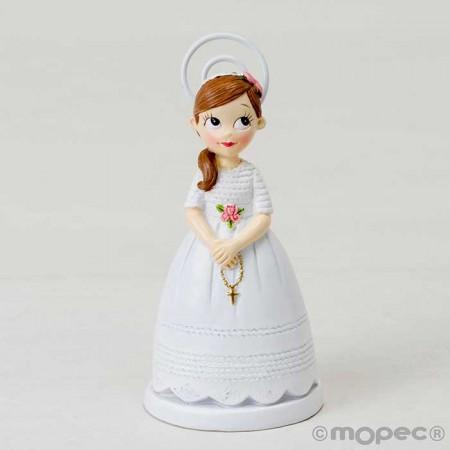 Figura Clip-Portafotos resina para Comunión niña con rosario y coleta