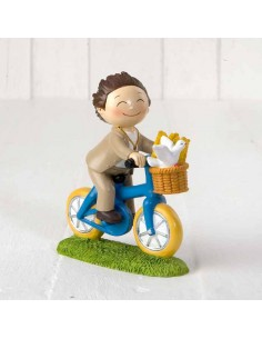 Figura para tarta Primera Comunión niño en bici.