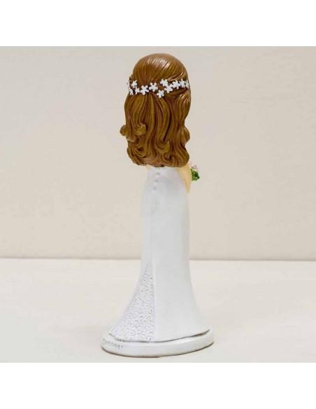 Vista trasera de la figura para pastel novia Pop&Fun ojitos cerrados.