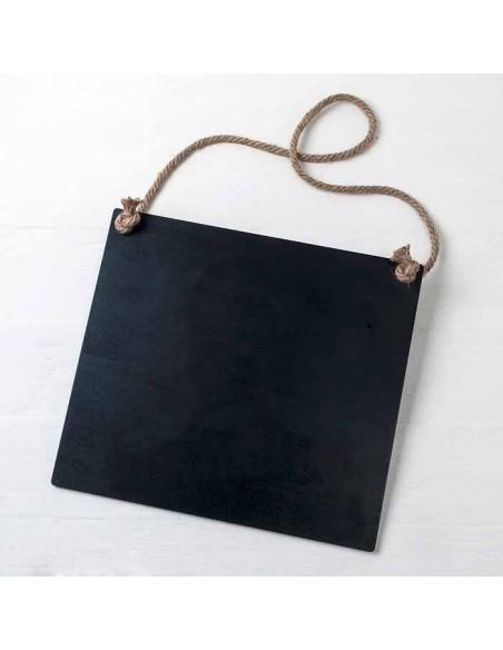 Pizarra negra de madera con cordel 30x27x0,5 cm.
