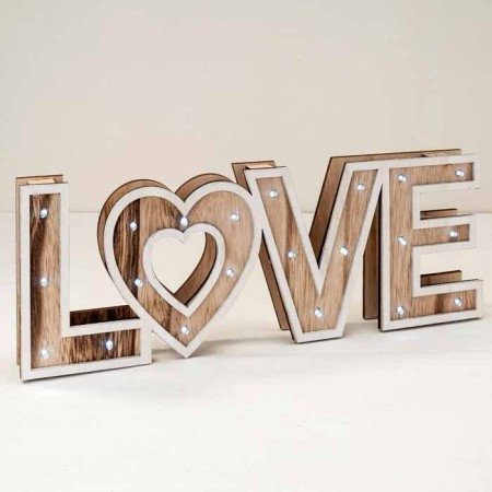 Cartel de madera LOVE con luz led