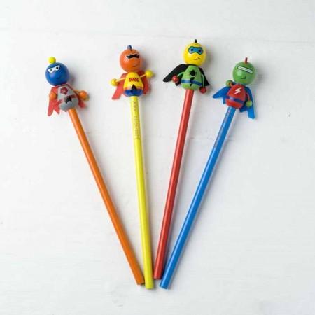 Lápices con muñeco de superhéroes de colores
