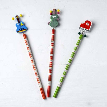 Divertidos lápices infantiles con adorno de intrumento musical