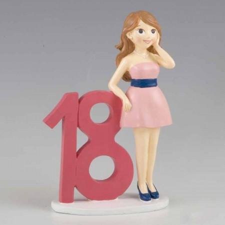 Figura para tarta de 18 años Chica con vestido rosa
