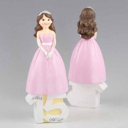 Figura para Pastel de 15 Aniversario de Chica vestida de gala