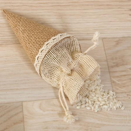 Bolsa cono para rellenar con arroz en yute