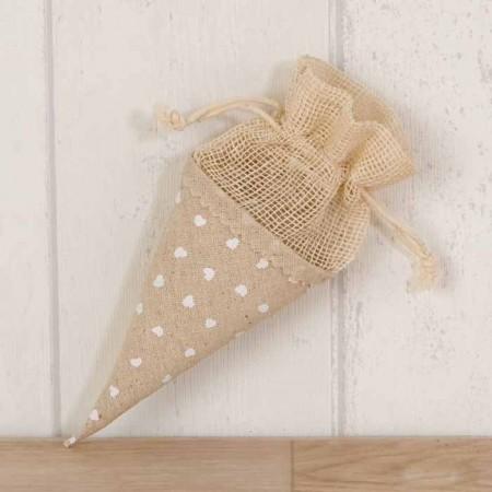 Bolsa cono de color beig con corazones para rellenar con arroz