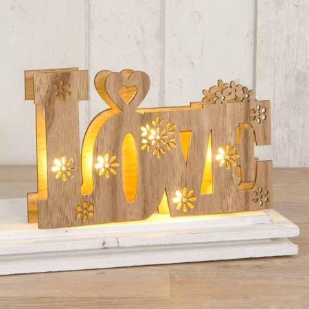 Decoración para bodas en madera Love con luces led