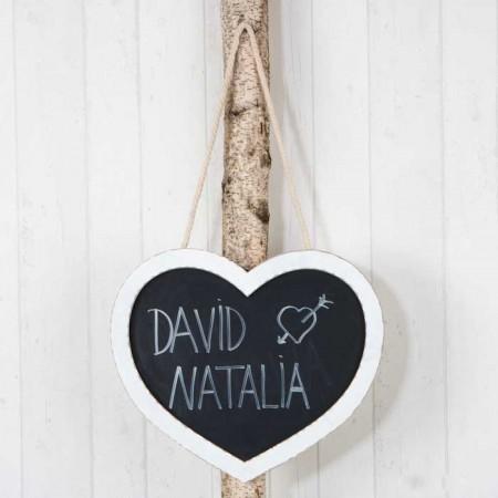 Pizarra corazón con cordón para colgar, decoración para eventos