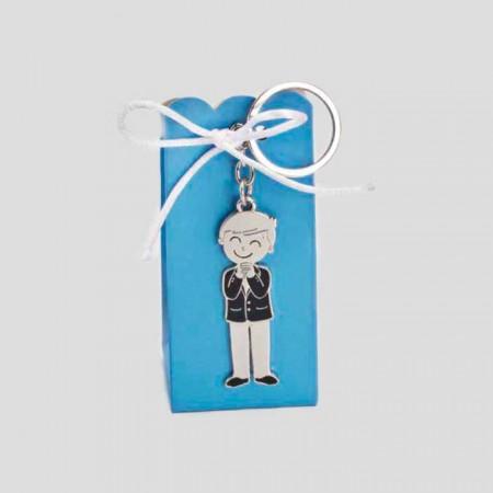 Llavero de metal niño Comunión con peladillas y caja azul