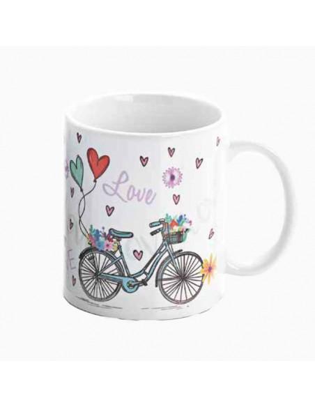 Taza diseño bicicletas y corazones, recuerdos originales para bodas