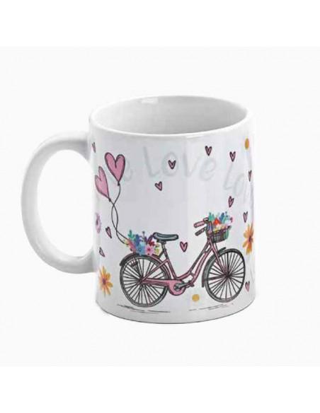 Reverso sin personalizar de la taza diseño bicicletas y corazones, recuerdos originales
