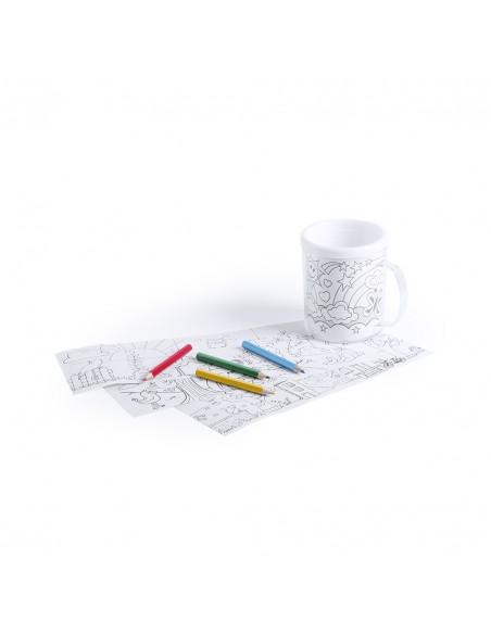 Taza infantil de plástico para colorear, incluye 4 lapices de colores y 4 plantillas